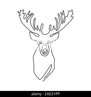 Une ligne continue dimensions résumé deer head. Une ligne moderne, esthétique illustration animaux contour.