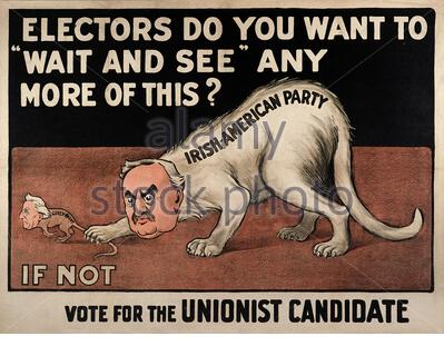 Les électeurs, voulez-vous attendre et voir plus? L'encre noire et rouge sur blanc lithographie illustrant Redmond comme un chat ('Irish American Party'), t Banque D'Images