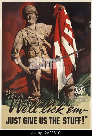 De temps affiche patriotique américain de la Seconde Guerre mondiale. 1940 Banque D'Images
