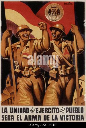 Affiche de Républicains Espagnols dans leur lutte contre une révolte par les nationalistes, une alliance d'Falangists, monarchistes, conservateurs et catholiques Banque D'Images