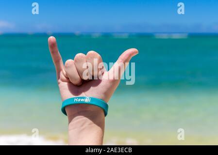 Panneau Shaka Hawaiian. Accrochez le signe lâche, étant fait avec un ciel bleu et la mer tropicale dans le fond.