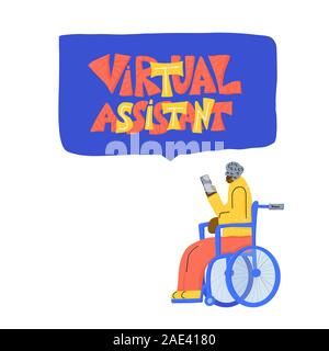 Vieille Femme dans un fauteuil roulant à l'aide de son téléphone pour bavarder avec le soutien. Assistant virtuel message isolé. Devis dessiné à la main. Illustartion de vecteur. Banque D'Images