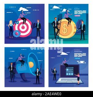 Icon Set numérique et les gens vector design Banque D'Images