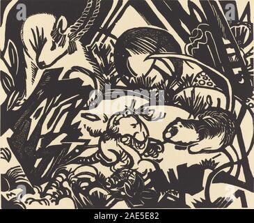 Légende des animaux (Tierlegende); 1912date Franz Marc, Légende des animaux (Tierlegende), 1912 Banque D'Images