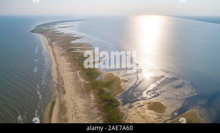 Vue aérienne de la péninsule de Sacalin dans delta du Danube, Roumanie Banque D'Images
