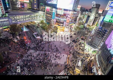 L'intersection la plus célèbre dans le monde entier. Shibuya, Tokyo, Japon, avril 2019 Banque D'Images