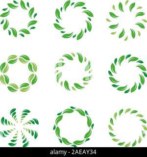 Image de la feuille. Cercle de feuilles. Logo abstrait vert biologique. Vector collection frontière eco isolés. Banque D'Images