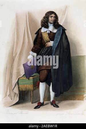 """Portrait de Jean Baptiste Colbert (Jean-Baptiste) (1619-1683), homme d'Etat francais (1619 - 1683) - dans """"Le Plutarque francais', par Mennechet, 1844-4 Banque D'Images"""