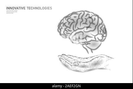 Traitement du cerveau low poly 3D render. Soins de médecine médicament main concept de santé mentale. La réadaptation cognitive dans la maladie d'Alzheimer Center banner