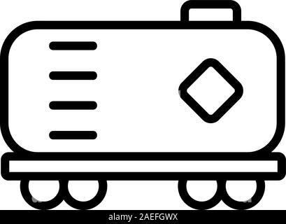 Chariot avec l'icône de l'huile combustible vecteur. Illustration symbole contour isolé Banque D'Images