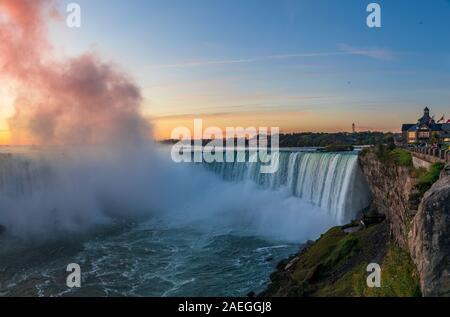 Niagara Falls est un groupe de trois chutes d'eau à l'extrémité sud de la gorge du Niagara, entre la province canadienne de l'Ontario et l'État américain du New Yo