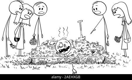 Vector cartoon stick figure dessin illustration conceptuelle de l'homme enterré vivant qui sort de la tombe comme undead zombie tandis que les gens, amis ou membres de la famille sont le regarder surpris. Banque D'Images