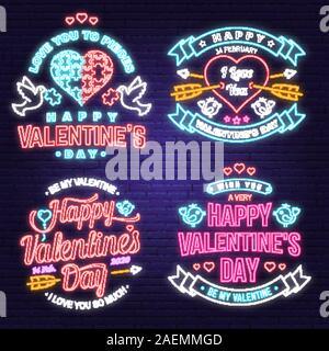 Happy Valentines Day jeu de carte de vœux au néon, des prospectus. Tout ce qu'il vous faut, c'est l'amour. Stamp, badge avec coeur, Dove, puzzle et de flèches. Vecteur. Valentines Day lumineux néon pancarte, banderole lumineuse