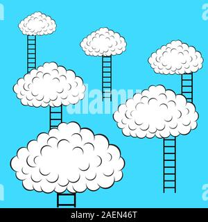 Les nuages avec des escaliers, vector illustration Banque D'Images