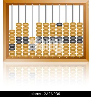 Abacus comptabilité pour les calculs financiers se trouve sur un fond blanc Banque D'Images