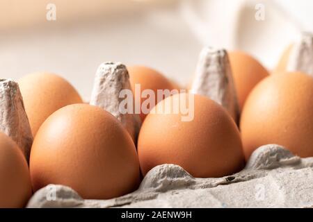 Les oeufs de poule dans la cellule œuf le bac close-up, rétroéclairé Banque D'Images