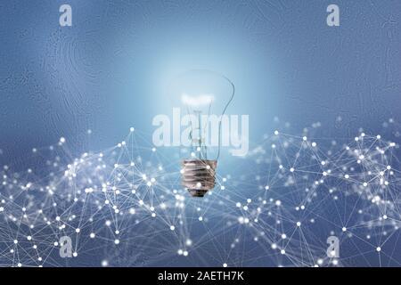 Les lignes de communication de connexion global autour de l'ampoule électrique, la technologie de l'abstrait
