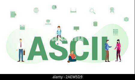 La technologie standard ASCII data concept avec grand mot ou texte et de l'équipe de personnes avec une télévision moderne style - vector illustration Banque D'Images