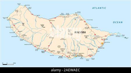Carte routière de l'île portugaise de Madère Banque D'Images