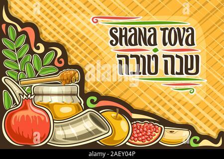 Carte de souhaits pour vecteur de Rosh Hashanah juif avec copie espace, mise en page avec lettrage original des mots en hébreu Shana tova sur fond jaune, swe Banque D'Images