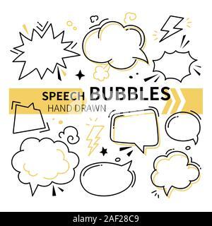 Hand drawn Speech bubbles collection - ensemble d'éléments Banque D'Images