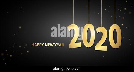 Étiquette de couleur d'or pour le Nouvel An 2020 numéros Banque D'Images