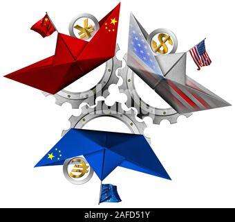 Aux Etats-Unis, en Chine et en Europe Union Européenne guerre commerciale Concept. Trois bateaux en papier avec les drapeaux, symboles de devises et roues dentées. Isolé sur fond blanc Banque D'Images