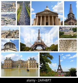 Paris, France - Voyage photo collage avec le Panthéon, Palais du Luxembourg et la Tour Eiffel. Banque D'Images