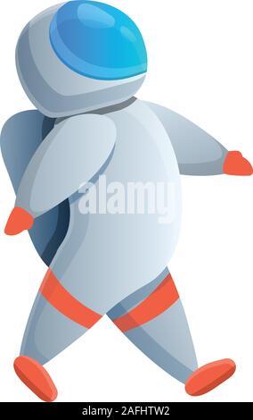 L'icône de l'astronaute marche. Caricature de l'astronaute marche pour l'icône vecteur web design isolé sur fond blanc Banque D'Images