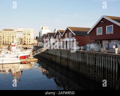 Maisons en bois rouge à port avec bateaux et Hôtels en Bodo européenne ville à Salten région en Norvège Banque D'Images