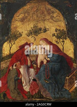 Vierge à l'enfant avec un donateur présenté par saint Jérôme, ca. 1450.
