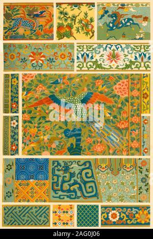 La peinture chinoise, le tissage, la broderie et cloisonn&#xe9;, (1898). Exemples de décor peint, les textiles et l'émaillage: 'Fig 1: représentations classiques de fruits et de fleurs peintes sur la porcelaine. Fig 2: frontière peint à partir d'un navire de la Chine. Fig 3: Peinture d'un petit coffre en bois. Les figures 4, 5 et 6: Des parties de double-rideaux brodés d'or et de la soie (XV siècle). Fig. 7, 8 et 9: Modèles à partir de tissus animaux. Fig 10 et 11: Partie de l'ancienne Chine vase-cuivre exécutées dans '&#xe9;mail cloisonn&#xe9;' [un type de l'émaillerie]. Figs 12-23. Ornements sur vases, bols et encensoirs exécuté en
