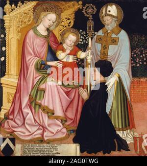 Vierge à l'enfant avec le donateur, Pietro de' Lardi, présenté par Saint Nicolas, ca. 1420-30.