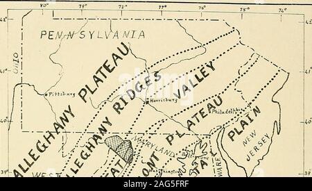. Jefferson, Berkeley, et Morgan comtés, par G.P. Grimsley, assistant géologue. I.C. White, géologue de l'état. physiographywhich°1606 / trouvé plus tard une demande dans la partie orientale de l'Etats-Unis. Grâce au travail dans l'est cette sectionby McGee, Willis, Davis, Hayes, Campbell, et d'autres, ont un wenow intéressant le développement de l'histoire géologique de la topographie de la partie orientale du continent. New York, New York, New Jersey, Maryland, Virginie occidentale, la Virginie, et les États du sud, peut être divisé général intothree divisions topographiques-Plaine Côtière, Banque D'Images