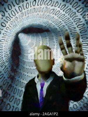 Peinture surréaliste. Gatekeeper. Faceless Man in suit met en garde. Tunnel de code binaire sur un arrière-plan Banque D'Images