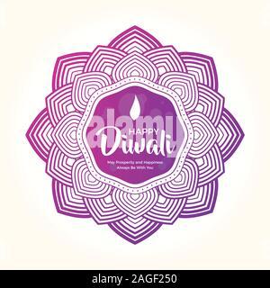Le Diwali Violet Mandala. Vector illustration isolé Banque D'Images