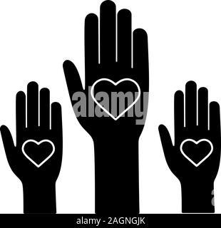 L'unité dans la diversité l'icône glyphe. Symbole de Silhouette. Non au racisme. Des bénévoles. Coup de main. Le vote. La charité. L'espace négatif. Vector isolated illustrati Banque D'Images