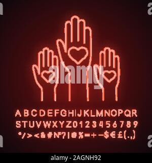 L'unité dans la diversité l'icône de lampe au néon. Signe éclatant de bienfaisance. Non au racisme. Des bénévoles. Coup de main. Le vote. Vector illustration isolé Banque D'Images