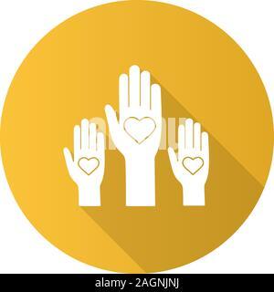 L'unité dans la diversité modèle plat, ombre portée de l'icône de glyphe. Non au racisme. Des bénévoles. Coup de main. Le vote. La charité. Silhouette Vector illustration Banque D'Images