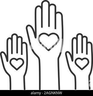 L'unité dans la diversité l'icône linéaire. Non au racisme. Des bénévoles. Fine ligne illustration. Coup de main. Le vote. La charité. Symbole de contour. Vector isolated outl Banque D'Images