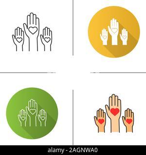 L'icône de l'unité dans la diversité. Modèle plat, linéaire et de couleurs. Non au racisme. Des bénévoles. Coup de main. Le vote. La charité. Illustrations vectorielles Banque D'Images