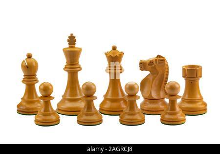 Pièces des échecs en texture en bois de couleur blanche