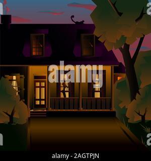 Nuit agréable maison de deux étages avec un porche. Vector art illustration d'une maison américaine. Banque D'Images