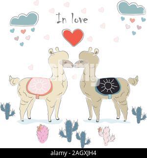 Cute Couple d'alpaga. Conception délicate à la main pour les cartes, décorations, etc. Style scandinave. Vector Illustration Banque D'Images