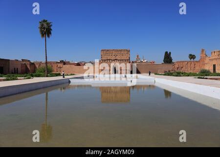 Palais El Badi, Badii (, Badia), l'Incomparable Palace, 16ème siècle, Marrakech, Marrakech, Maroc, Afrique du Nord Banque D'Images