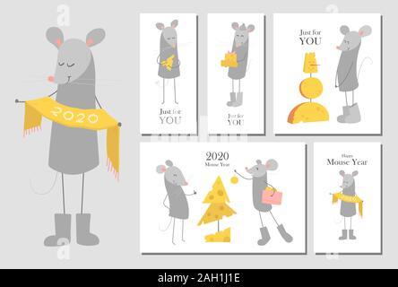 Ensemble de cartes de vœux de Nouvel An du vecteur des modèles avec happy smiling funny cartoon des souris. Symbole du Nouvel an chinois 2020. Bannière, concept de l'affiche. La souris Banque D'Images