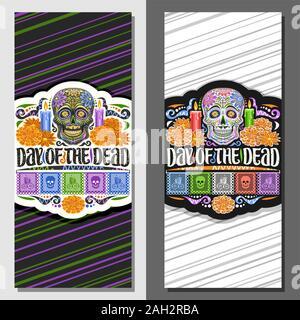 Les modèles vectoriels pour le Jour des Morts, coupons de décoration avec illustration de creepy skull, brûler des bougies, des fleurs orange, le message d'accueil de couleur drapeaux, vo Banque D'Images