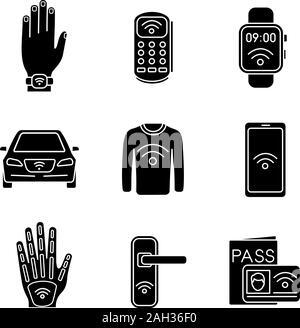 La technologie NFC glyphe icons set. Bracelet en champ proche, terminal de point de vente, smartwatch, voiture, vêtements, smartphone, implant, verrou de porte, système d'identification. Si Banque D'Images