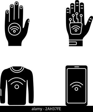 La technologie NFC glyphe icons set. Par contre en champ proche, autocollant implant, vêtements, smartphone. Symboles de Silhouette. Vector illustration isolé Banque D'Images