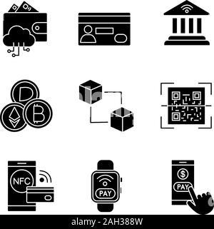 E-paiement glyphe icons set. L'argent électronique. Les paiements sans contact et sans espèces. Achat numérique. Services bancaires en ligne. La technologie NFC. Symboles de Silhouette. Banque D'Images
